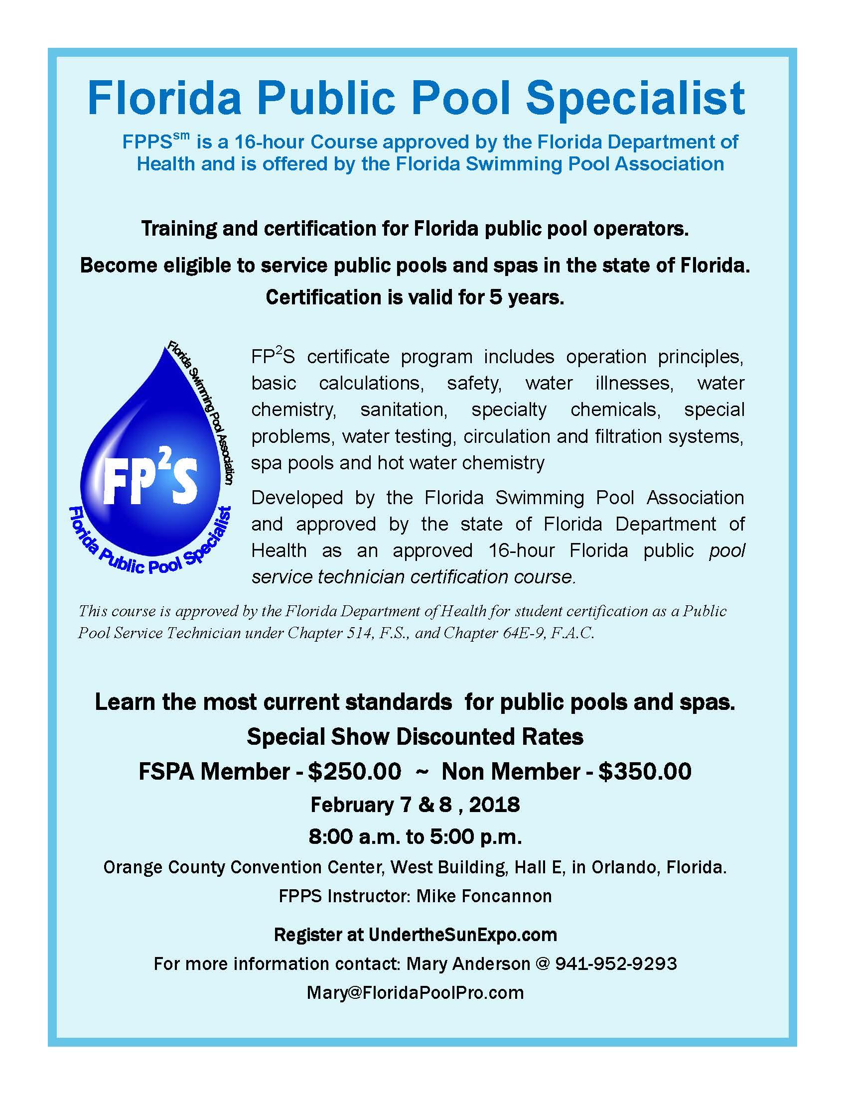 Florida public pool specialist course fspa florida public pool specialist course 1betcityfo Images